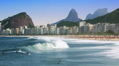 World famous Copacabana beach in Rio de Janeiro, Brazil. Copacabana Beach, South America, Backpacking, Brazil, Travel Inspiration, Rio De Janeiro, Voyage, Backpacker, Travel Backpack