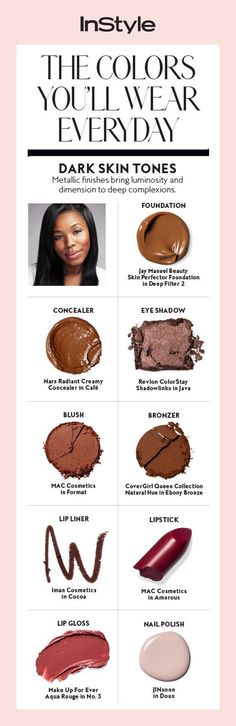 For dark skin tones, metallic finishes bring luminosity and dimension to deep complexions.