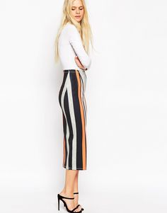 ASOS Midi Pencil Skirt in Abstract Stripe