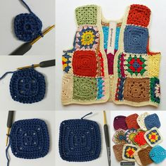 Crochet Patchwork Vest Making - Crochet Clothes, Diy Clothes, Crochet Hooks, Crochet Top, Hippie Crochet, Crochet Leaves, Vest Pattern, Clothing Patterns, Crochet Projects