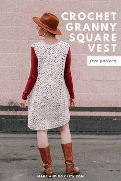 Crochet Vest Pattern, Granny Square Crochet Pattern, Crochet Jacket, Crochet Vests, Crochet Sweaters, Cotton Crochet, Make Do, Make And Do Crew, Boho Crochet Patterns