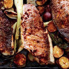 Baked Snapper with Harissa, New Potatoes, and Spring Onions