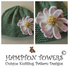 Quick Easy pattern to make this adorable Daisy Hat. Pattern has instructions to knit from premature baby size through to 10 year old. Takes between