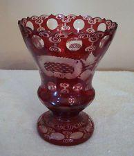 "Vintage Egermann Bohemian Czech Crystal Ruby Red 8"" Vase"
