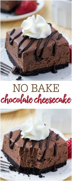 These easy, no bake chocolate cheesecake bars are perfectly creamy with a crunchy Oreo cookie crust and perfect to enjoy all year long! These easy, no bake chocolate cheesecake bars are perfectly creamy with a crunchy Oreo cookie crust. No Bake Chocolate Cheesecake, Cheesecake Bars, Simple No Bake Cheesecake, Chocolate Cheesecake Cupcakes, No Bake Chocolate Desserts, Raspberry Cheesecake, Pumpkin Cheesecake, Food Cakes, Cupcake Cakes