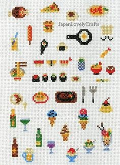 Items similar to Kawaii Cross Stitch Book by Makoto Oozu - Japanese Embroidery Pattern Book - Lovely Motifs - Hand Cross Stitch Design, Easy Tutorial, on Etsy - Kawaii Cross Stitch, Small Cross Stitch, Cross Stitch Kitchen, Cross Stitch Books, Modern Cross Stitch, Cross Stitch Designs, Cross Stitch Patterns, Sashiko Embroidery, Learn Embroidery