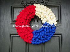 red white blue burlap wreaths | Red, white & blue burlap wreath!
