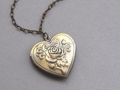 Vintage inspired rose heart locket...