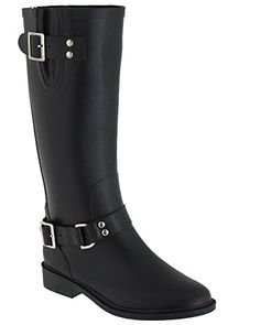 Capelli New York Solid With Buckle Gusset And Back Zipper Ladies Riding Rain Boot Black Combo 9 -- See this great product.