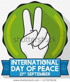 Flat design with long shadow and round button with hand doing the peace gesture and greeting ribbon for International Day of Peace celebration. International Day Of Peace, Round Button, Long Shadow, Flat Design, Celebration, Royalty Free Stock Photos, Ribbon, Buttons, Image