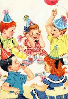 Vintage birthday party scene..the boys being boys and the girls holding their ears.