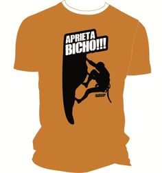 Camiseta técnica naranja aprieta bicho escalador para escaladores. #escaladores #bloqueros #camisetas #tees