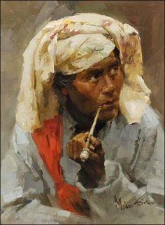 Mian Situ (Chinese/American, born 1953)  'Man Smoking Pipe'