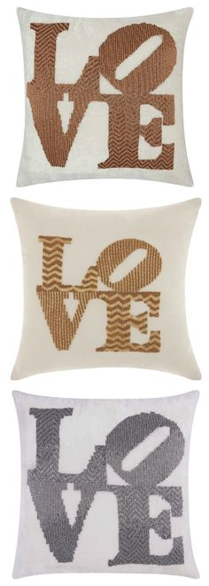 All you need is LOVE: Mina Victory Beaded Love Throw Pillow ~ celebrate Valentine's Day, a wedding, anniversary or just LOVE itself with this beaded pillow #affiliate #lovehome #homedecorideas #valentinesdaydecor