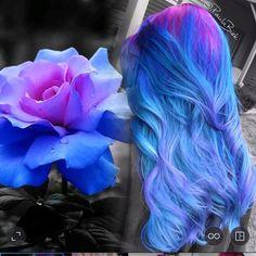 Beautiful pink and blue hair color by Paula Biek. Hair inspiration www.hotonbeauty.com