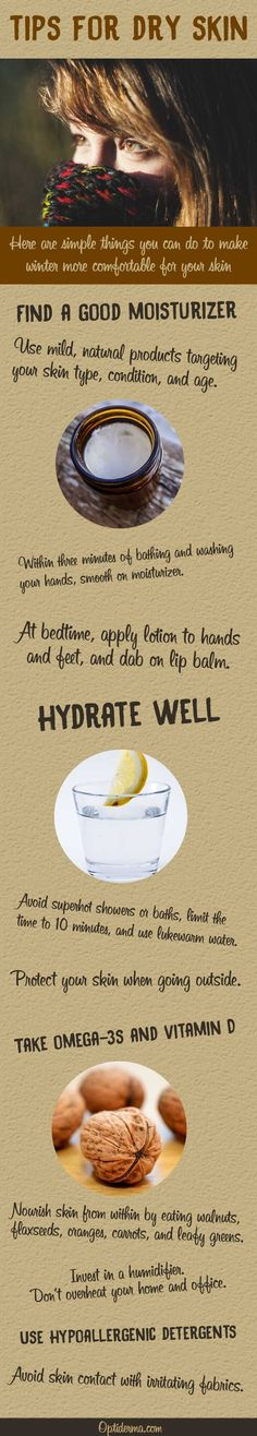 Tips to Relieve Dry Skin in Winter (Infographic)  You can do a lot on your own to improve dry skin!   You'll find simple strategies to face off dry winter skin HERE: http://www.optiderma.com/healthy-skin-tips/dry-skin-winter/
