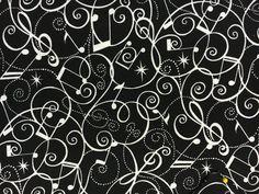 Gray and White Music Note Toss on Black Jazz Fabric Elizabeth Studio YARD