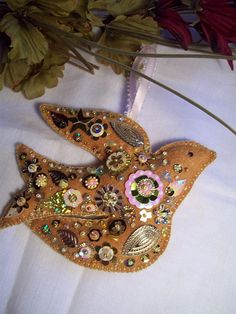 embellished felt bird ornament