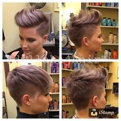 "I'm sorry I'm not sorry!! Cooled down the lavender and cut a ton more off @sky_eyes_ #hair #haircut #hardpart #haircolor #hairstyle #hairstylist #shorthair #shavedhead #shorthaircut #shavednape #shorthairstyle #shorthairphotos #chickfade #chickhawk #ladyfade #lavenderhair #barber #fade Absolutely loving my @samvillahair 7"" dry cutting shears too!!! #samvilla #samvillashears"