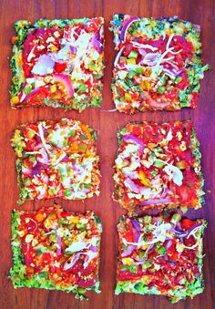 Veggie Pizza With Spinach & Cauliflower Crust // 80 Calories Per Slice via Undressed Skeleton #healthy #lowcarb
