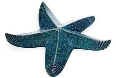 "Glazed Blue Ceramic Starfish, vintage, 12"" diameter, sold on OKL for $39."