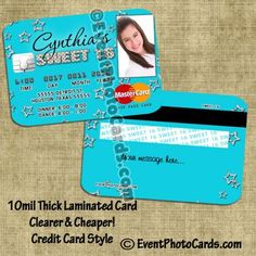 Invitations that look like Credit Card for Sweet 16 - Stars Sweet