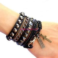 Punk Rock Style Black Leather Bracelet