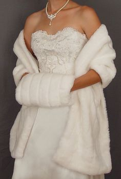 White Long Faux Fur Bridal Wrap Shawl Wedding Stole 60 By Spazooie 69 99