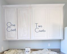 "painting oak cabinets using Rustoleum's cabinet kit. low odor, faster, easier (large kit $149). color pictured here is ""linen"""