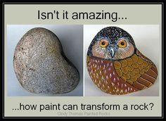 Before & After Painted Rock Owl by Cindy Thomas