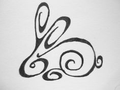 Tribal bunny tattoo. Getting this with Jazmin. Mine in black ink and hers in…