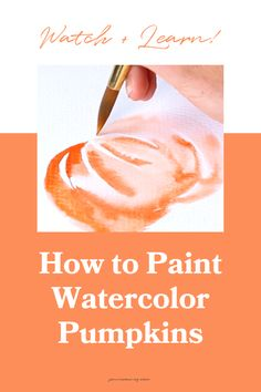 """Fall is here! I'm sharing my watercolor pumpkins tutorial. What's more festive for fall than some pumpkin decor?? For this watercolor tutorial, I teach you how to use a basic, simple """"C"""" curve to make these beauties."""