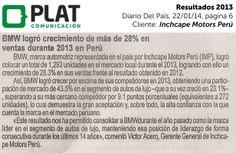 Inchcape Motors: Resultados comerciales de 2013 en el diario Del País de Perú (22/01/14)