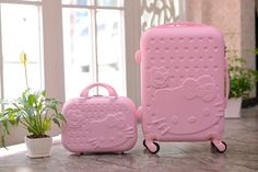 3D HELLO KITTY Hardside 2 Piece Luggage Travel SUITCASE Set GORGEOUS Colors NWT