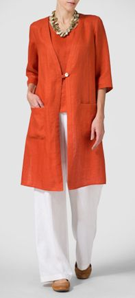 """""""Vivid Linen Energetic of Warm Colors"""", """"Light, lovely and simple, Vivid Linen clothes are su Boho Fashion, Fashion Outfits, Womens Fashion, Linen Tunic, Linen Dresses, Fashion Over 50, Plus Size Fashion, Casual Outfits, Clothes For Women"""