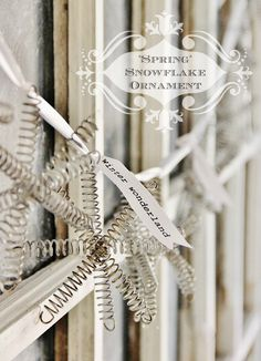 Make a snowflake ornament using old bed springs. Step-by-step instructions on how to make a snowflake ornament from vintage bed springs. Snowflake Ornaments, Christmas Snowflakes, Winter Christmas, Vintage Christmas, Christmas Holidays, Industrial Christmas Ornaments, Diy Snowflakes, Christmas Decor, Christmas Projects