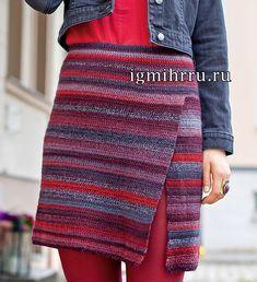 Разноцветная шерстяная юбка с разрезом. Вязание крючком