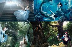 Annie Leibovitz, you genius! Rachel Weisz - Snow White, Julie Andrews - the Blue Fairy from Pinocchio, Abigail Breslin - Fira from Disney Fairies, Scarlett Johansson - Cinderella, Julianne Moore - the Little Mermaid and swimmer Michael Phelps - a merman.