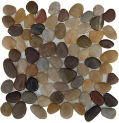 Splashback Glass Tile Flat Pebble Rock Multicolor Stacked 12 in. x 12 in. Marble Mosaic Floor and Wall Tile-FLAT at The Home Depot Pebble Stone Flooring, Stone Mosaic Tile, Marble Mosaic, Mosaic Tiles, Wall Tiles, Glass Tiles, Mosaics, River Rock Tile, River Rocks