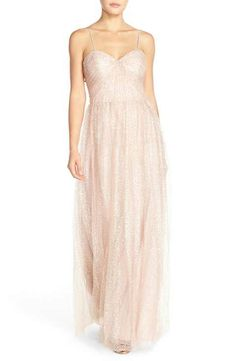 Watters 'Betts' Sequin Tulle Column Gown with Removable Spaghetti Straps