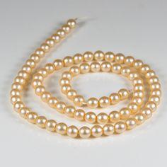 x80 Cream pearls, String of cream 6mm matte glass pearls, De-stash beads £1.00