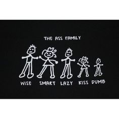 Mens Humorous Short Sleeve T-Shirt [Black] The Ass Family (Available in size Small to Extra Large)