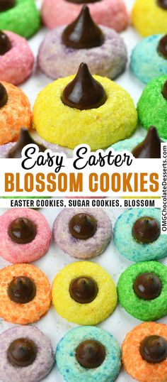 Easter Blossom Cookies are easy to make, super cute and festive Easter dessert. These colorful cookies are a delicious treat and perfect addition to the Easter table.