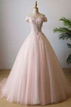 Pink off shoulder tulle lace long prom dress,