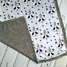 Minky Panda Baby Blanket Panda with Feather by TheDesignerMinkyCo