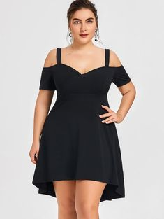 Plus Size Women Hot Dress Sweetheart Neck High Low Evening Party Dress Plus Size Fashion For Women, Black Women Fashion, Plus Size Women, Women's Fashion, Dress Fashion, Black Dress Outfits, Black Party Dresses, Dress Black, Dress Red