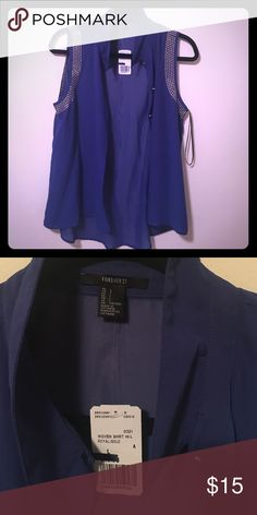 NWT Size L forever 21 blue sleeveless shirt NWT Size L forever 21 blue sleeveless shirt Forever 21 Tops Tank Tops
