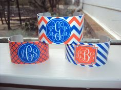 Monogrammed Cuff Bracelet - Personalized - All Team Colors Available - Jewelry - Custom Design - Tailgating - Orange and Blue