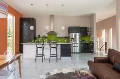 Colorful open-plan kitchen.