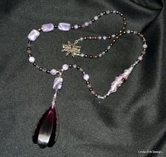 Necklace in shades of purple  Glass Pearls and by LindaBrittDesign, $295.00